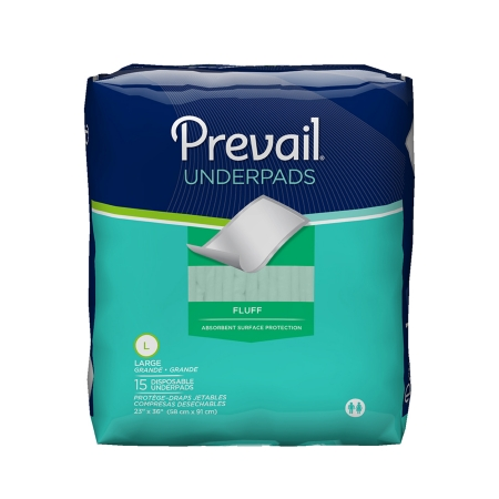 Prevail Underpad 23 X 36 Inch, Disposable, Fluff, Heavy Absorbency, Package of 15