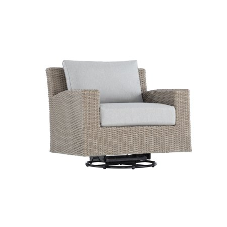 Image of Emerald Home Reims Brick Gray Outdoor Swivel Glider Lounge Chair with Swivel Glider, All Weather Wicker, And Spuncrylic Cushions