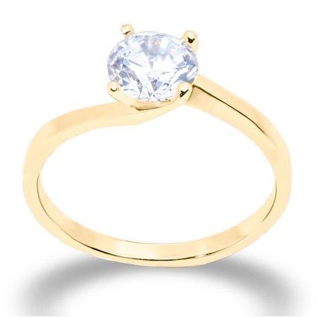 14K Solid Gold 1 Ct. 6-Prong Solitaire CZ Engagement Ring