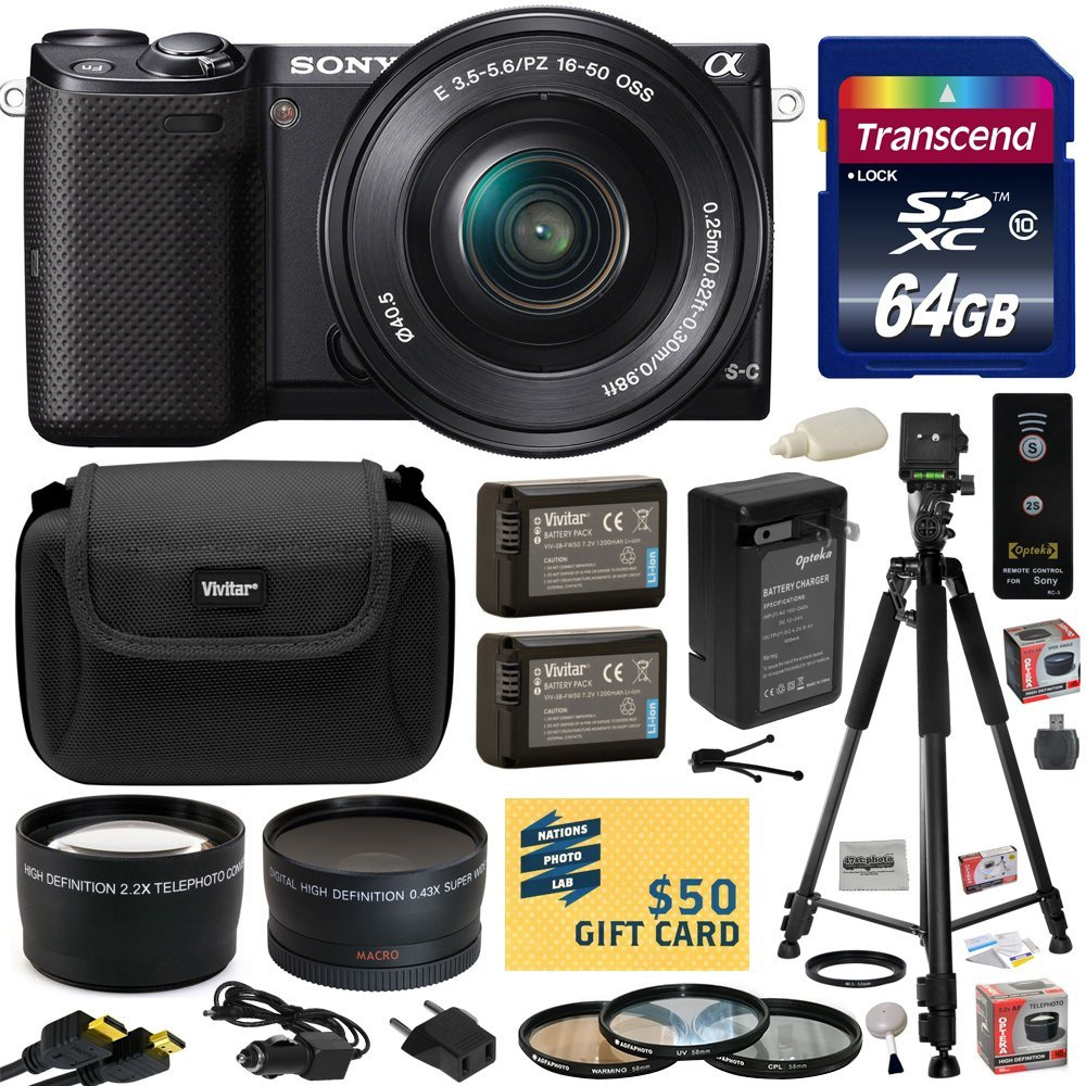 Sony NEX-5 Compact Interchangeable Lens Digital Camera with 16-50mm Power Zoom Lens with 64gb SDHC Card, 2x Battery, Charger, 3 PC Filter Kit, Fisheye Lens, Telephoto Lens, Wireless Remote, Case +more