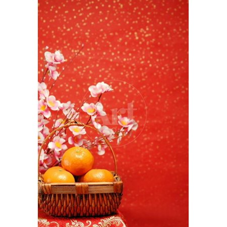 Chinese New Year Decoration--A Basket of Oranges with Plum Flower on a Festive Background. Print Wall Art By Liang Zhang (Block China Flower)