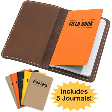 Handcrafted Stitched Leather Journal Notebook Cover with Inside Pocket: INCLUDES 5 BONUS Refillable Field Note Book Journals / Compatible with Field Notes and Moleskine Cahier Notebook (3.5