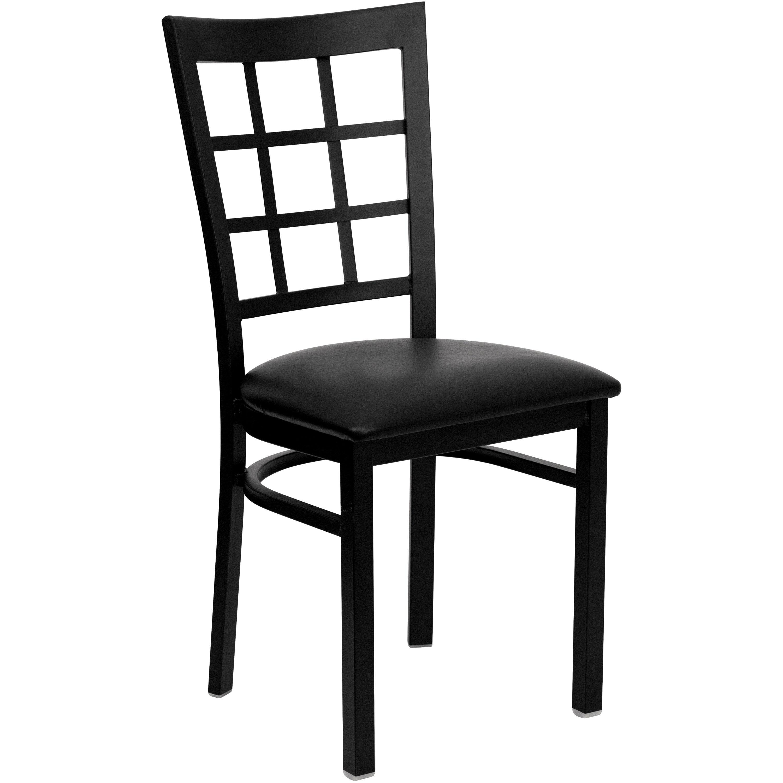 Lancaster Home Black Window Back Metal Restaurant Chair