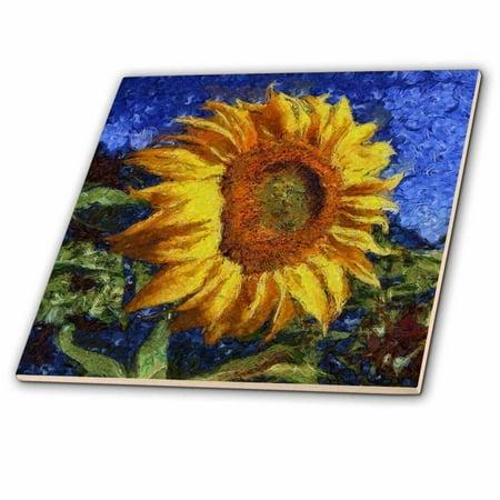 3dRose Sunflower In Van Gogh Style - Ceramic Tile, (Sunflower Ceramic Tile)