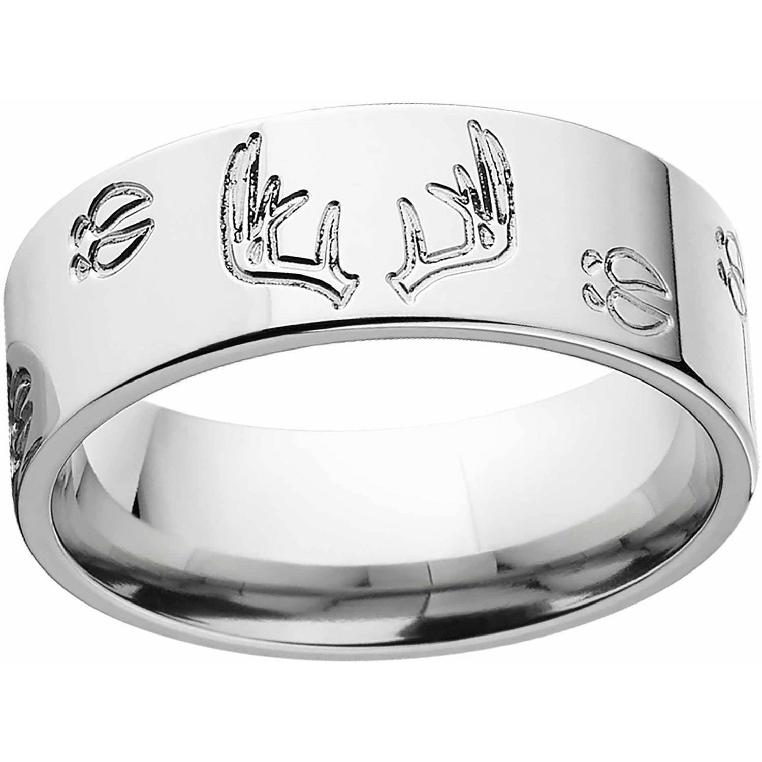 Mens Deer Track and Rack Durable 8mm Stainless Steel Wedding Band