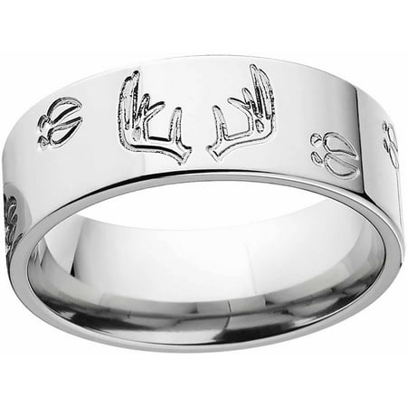 mens deer track and rack durable 8mm stainless steel wedding band with comfort fit design