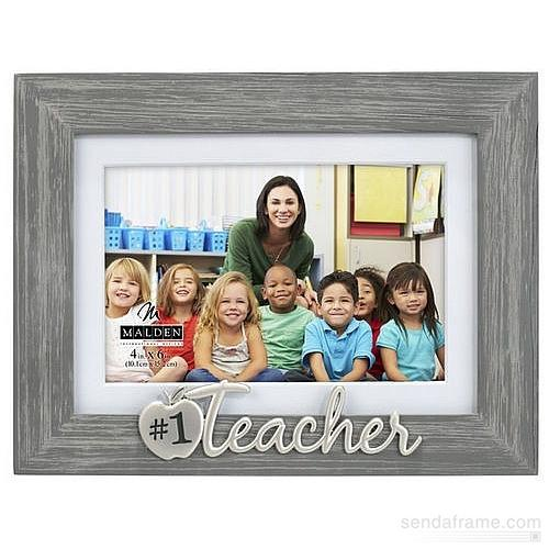 1 TEACHER Gray Wood Keepsake 5x7 4x6 frame