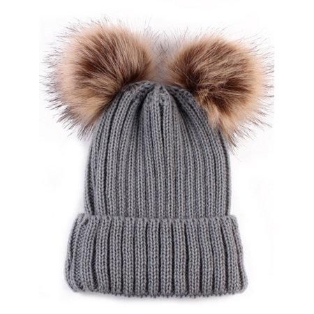 f81690fbe Winter Baby Girls Boys Warm Knitted Pom Bobble Beanie Hat Kids Cotton Cap