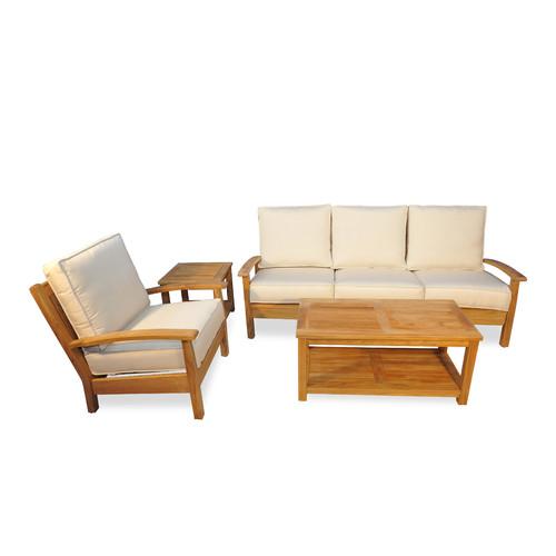 Click here to buy Regal Teak 4 Piece Teak Deep Seating Group with Cushion by Regal Teak.