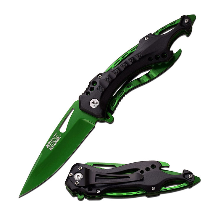 """Mtech SPRING ASSISTED KNIFE 4.5"""" CLOSED GREEN HALF SERRATED BLADE"""