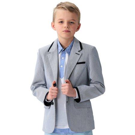 Leo&Lily Big Boys Kids 100%Cotton Dobby Stripe Blazers Jackets Coat With Lining](Kids Boys Leather Jacket)