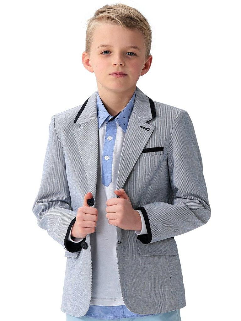 Leo&Lily Big Boys Kids 100%Cotton Dobby Stripe Blazers Jackets Coat With Lining