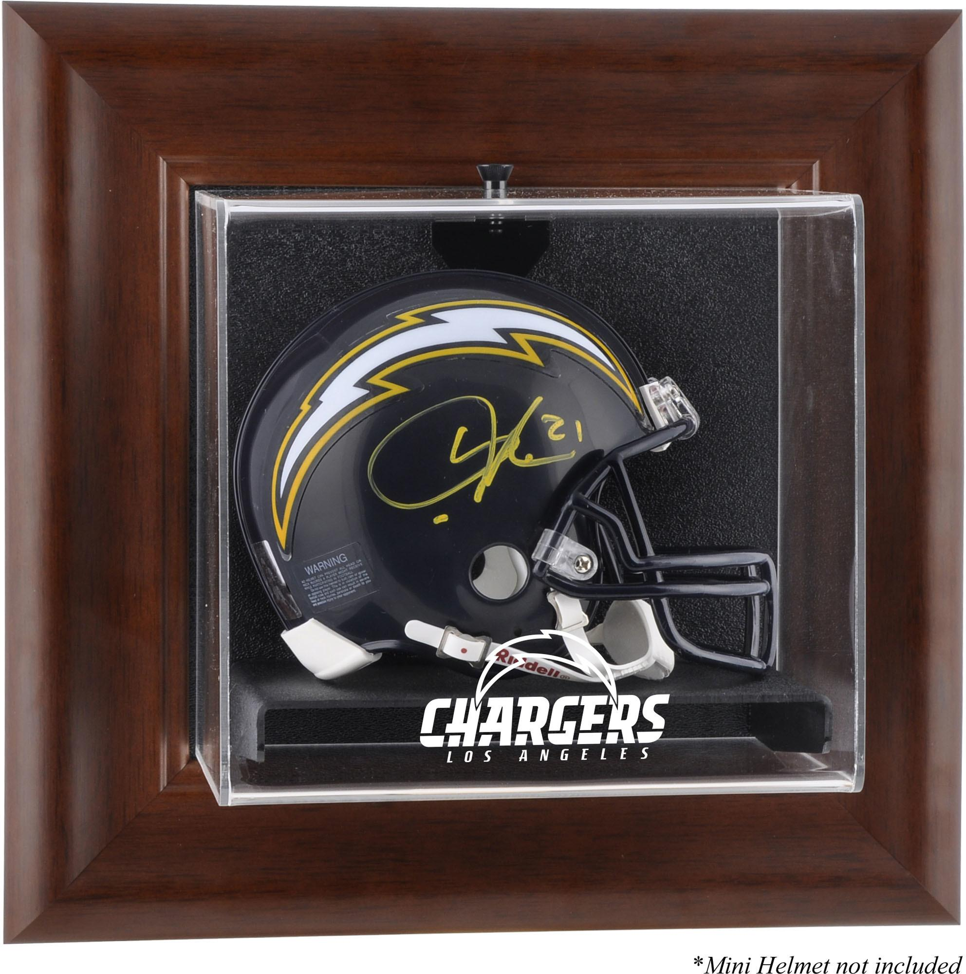 Los Angeles Chargers Brown Framed Wall-Mounted Mini Helmet Display Case