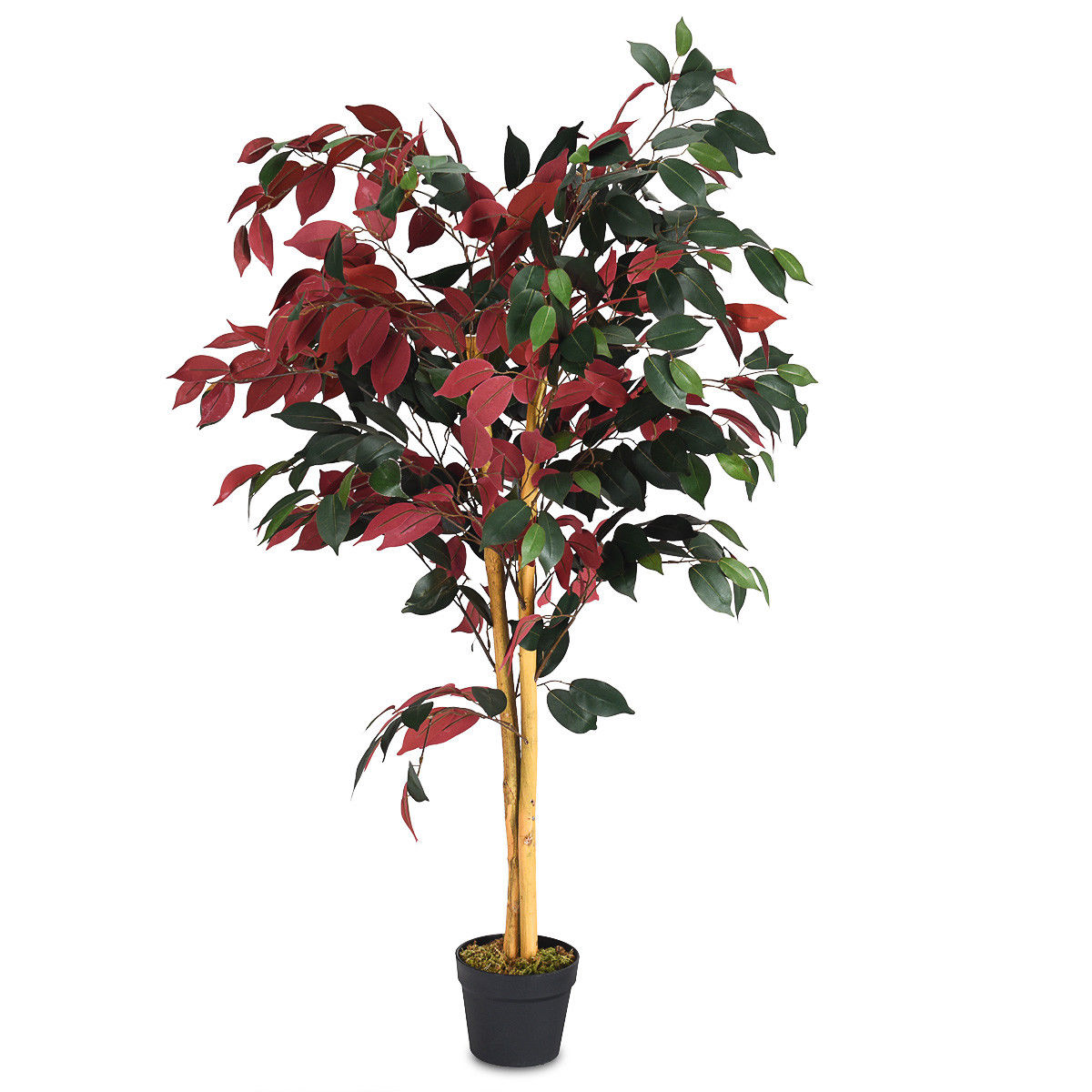 Gymax Artificial Capensia Bush Home Decor 4 Feet Red Green Leaves
