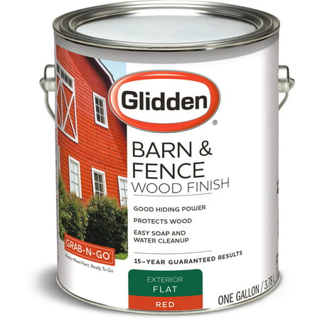 Glidden Barn & Fence Wood Finish Exterior Paint, Red Flat,1 Gallon ...