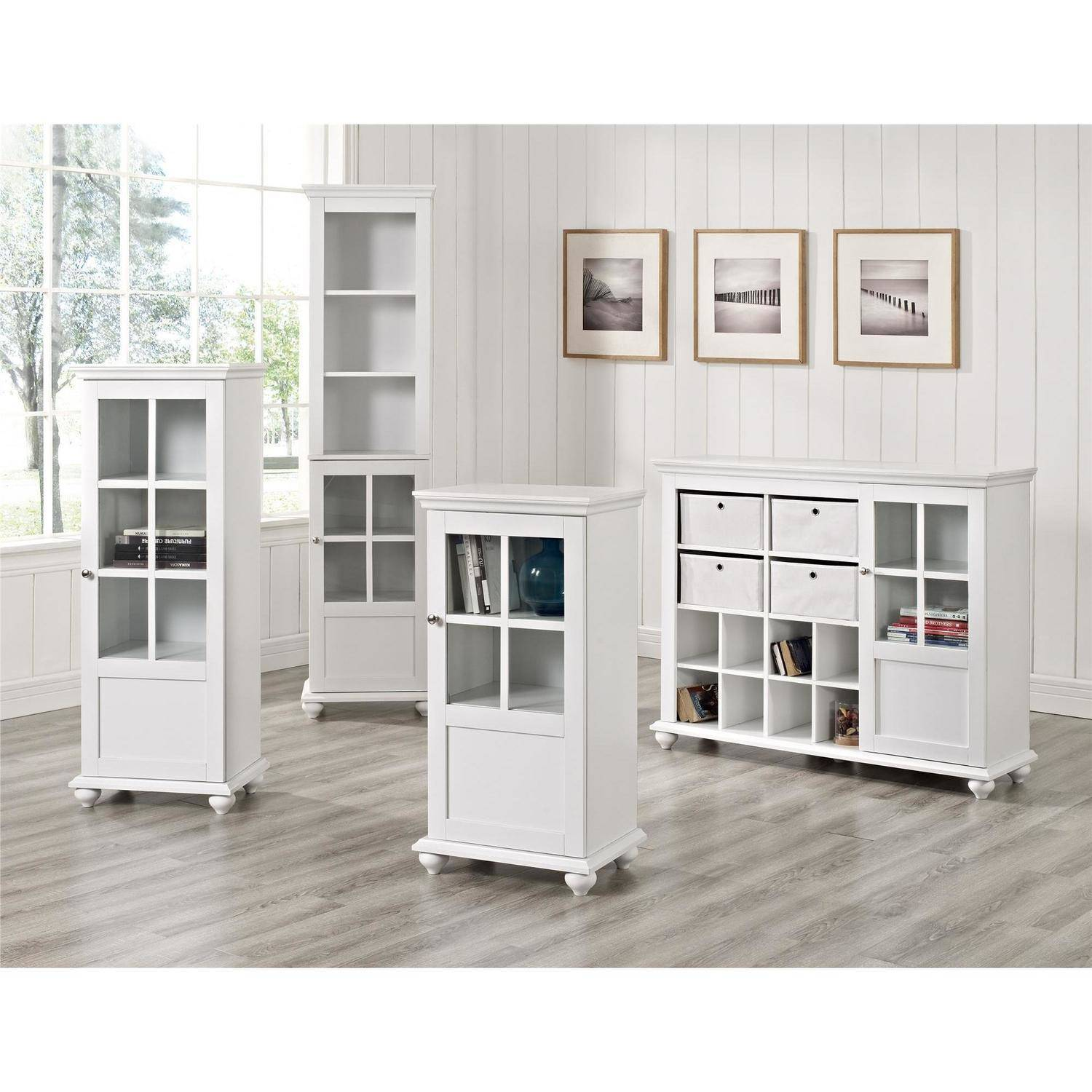 altra furniture reese park storage cabinet with 4 fabric bins and glass door white - Cabinet With Glass Doors