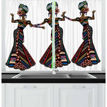African Woman Curtains 2 Panels Set, Young Women in Stylish Native Costumes Carnival Festival Theme Dance Moves, Window Drapes for Living Room Bedroom, 55W X 39L Inches, Multicolor, by Ambesonne