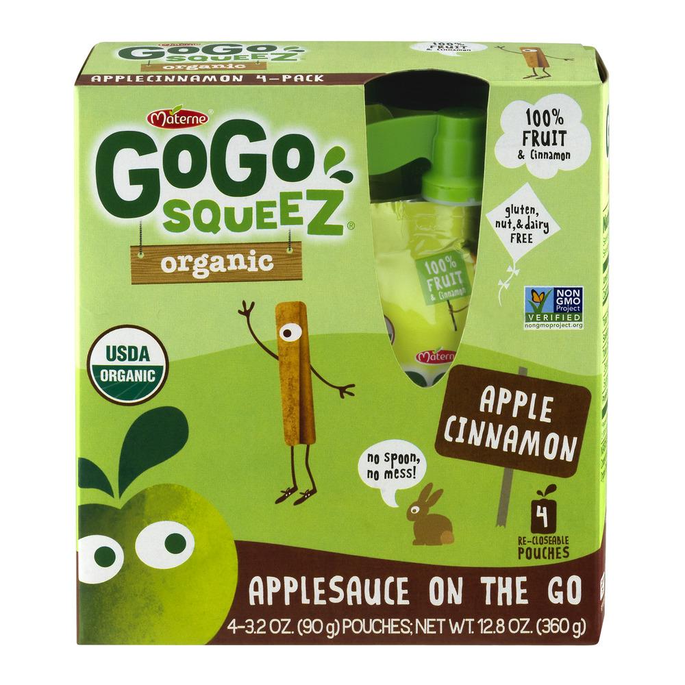 Materne GoGo squeeZ Organic Apple Cinnamon Applesauce on the Go, 3.2 oz, 4 ct