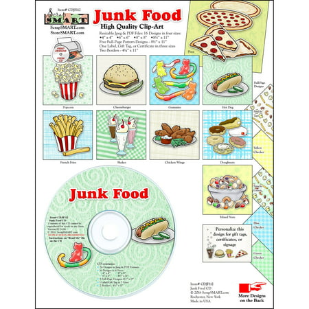 ScrapSMART Junk Food Clip-Art CD-ROM, Colorful Illustrations for Scrapbook, Craft, Sewing