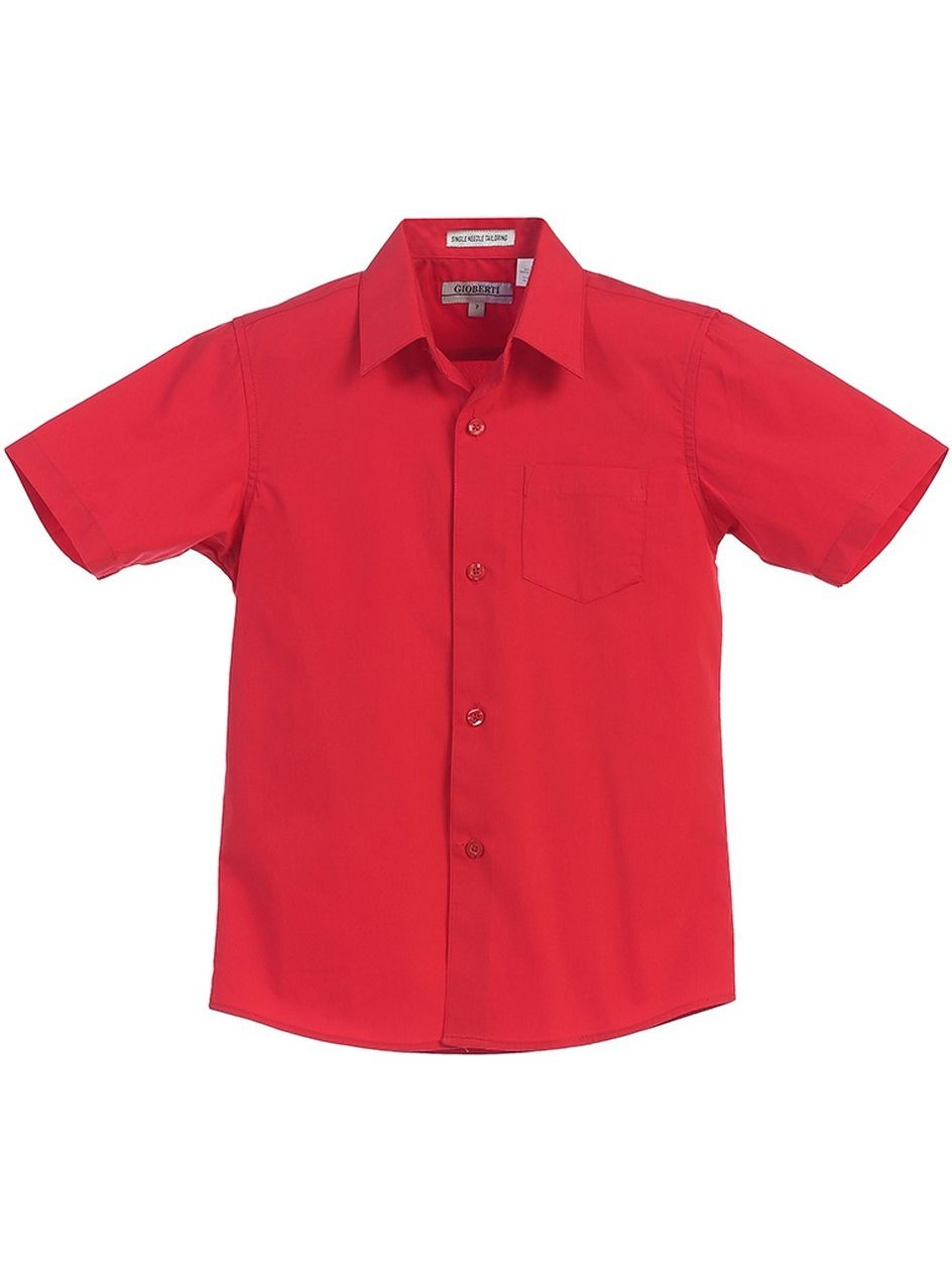 Gioberti Big Boys Red Solid Color Button Down Short Sleeved Shirt