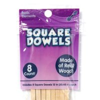 Kids Craft Wooden Square Dowels, 8 Pack
