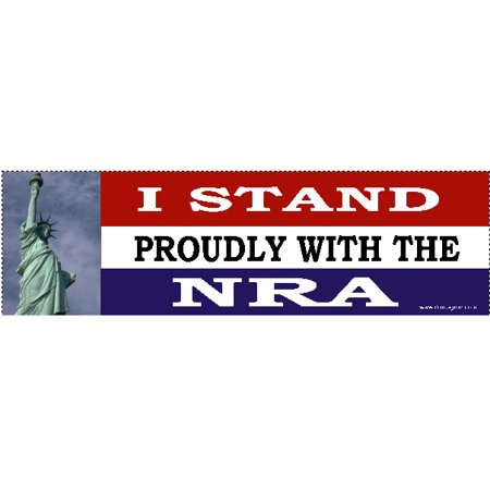 I stand proudly with the NRA Bumper Sticker- Gun Rights Bumper Sticker