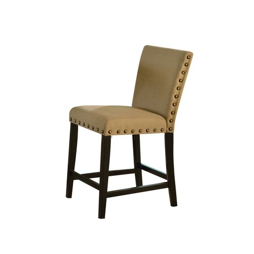 acme byton counter height chair, linen & black (set of 2