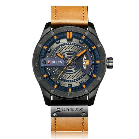 CURREN Quartz Watch Fashion Genuine Leather Men Watches 1ATM Life Water-resistant Quartz Casual Man Watch Relogio Musculino