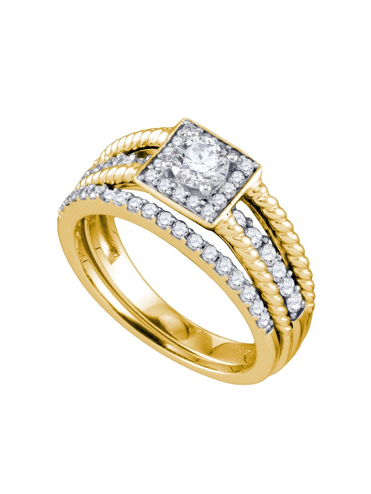 14kt Yellow Gold Womens Natural Diamond Round Bridal Wedding Engagement Ring Band Set (.87 cttw.) size- 9.5 by