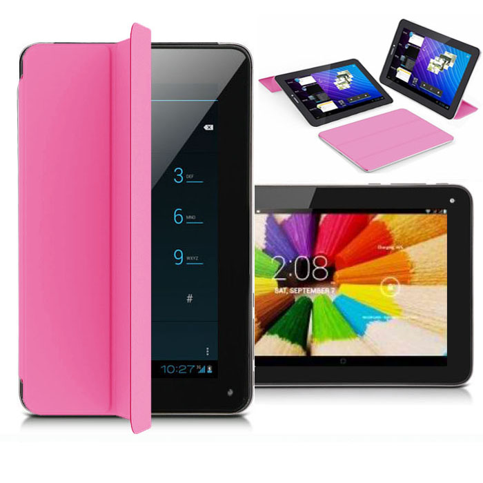 """Indigi® 7.0"""" Unlocked 3G Smart Phone 2-in-1 Phablet Android 4.4 Tablet PC w/ Built-in Smart Cover AT&T T-Mobile (Pink)"""