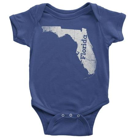 3-6 Months / Royal Blue Florida Baby Bodysuit Home Shirt