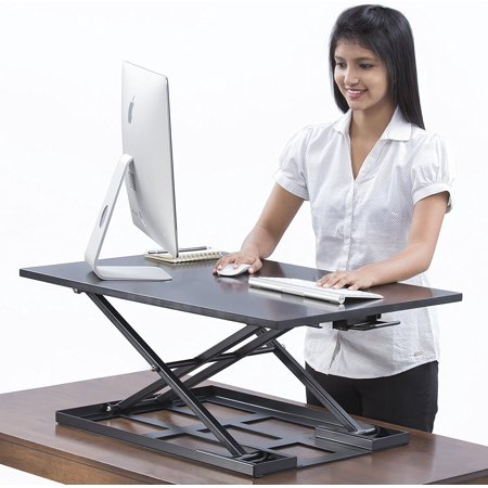 Table jack Standing desk converter - 32 X 22 inch Extra large Ergonomic height adjustable sit stand up desk converter that can act as a desk riser adaptable for a dual monitor (Best Dual Screen Setup)