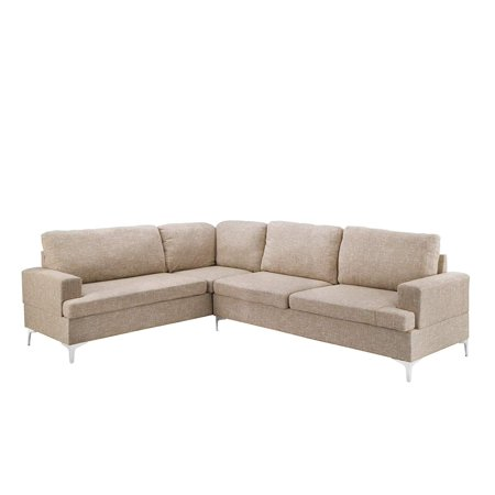 Linen Sectional Sofa Clic Living Room L Shape Couch Beige