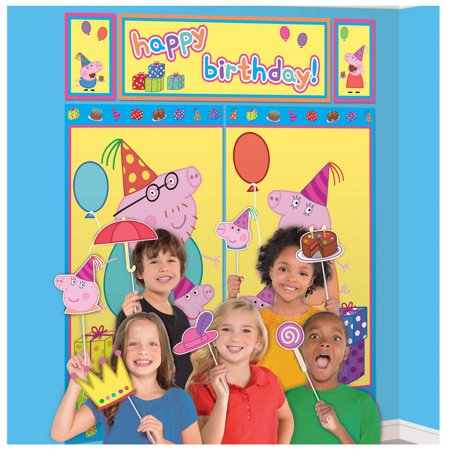 Peppa Pig Scene Setter with Photo Booth Props (Jungle Scene Setter)