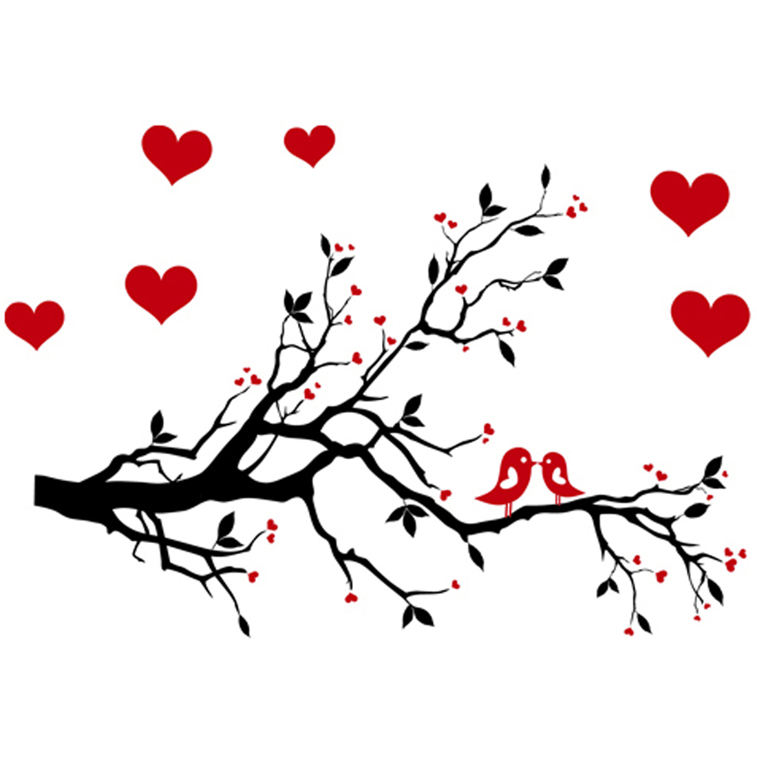 Living Room Art Decor PVC Branches Heart Pattern Adhesive Wall Decor Sticker Decal