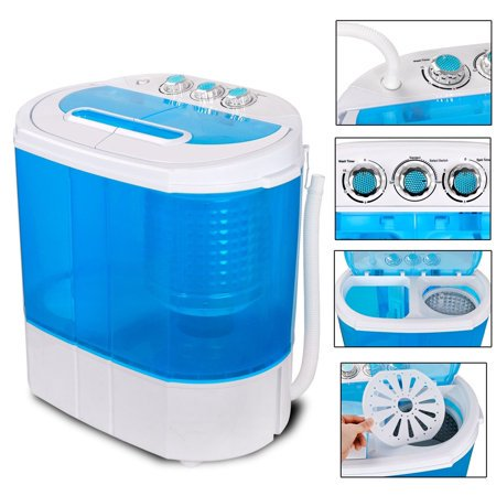 Zeny Portable Washing Machine, Mini Twin Tub Washing Machine w/Washer&Spinner, Gravity Drain Pump, 9.9lbs (Portable Laundry)