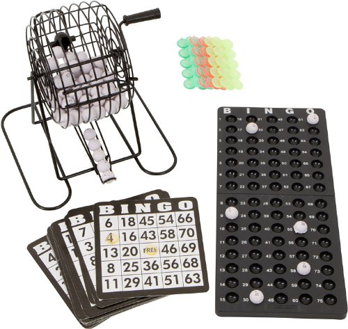 18 Card Bingo Set with 75 Numbered Balls, a Metal Cage to Spin, Bingo Chips and Ball Rack By Trademark Innovations