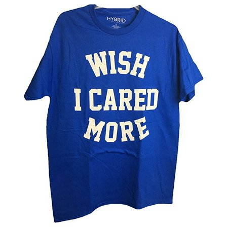 Humor Novelty Tee Wish I Cared More Distressed Graphic Adult Royal Blue T-Shirt (Medium)