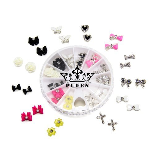 PUEEN 3D Nail Charms Wheel of 24pcs Resin & Alloy Rhinestones Nail Art Decoration Bow Flower DIY for Nails & Cell Phones