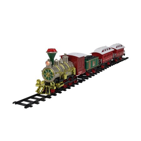 Train For Christmas Tree (14-Piece Red and Green Lighted and Musical The Christmas Gift Battery Operated Train)