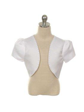 Rain Kids Girls 14 White Satin Pearl Trimmed Short Sleeve Bolero