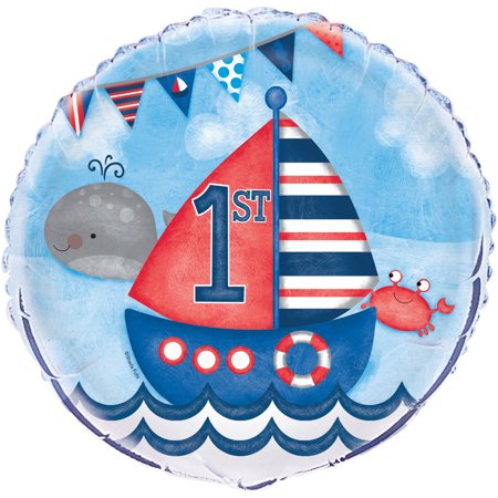 Foil Nautical First Birthday Balloon, 18in - Nautical Themed Balloons