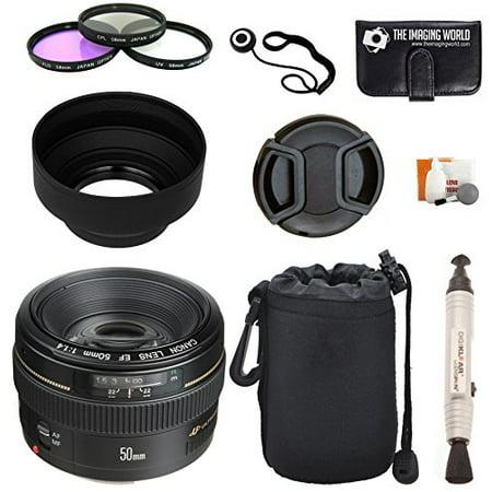Canon EF 50mm f/1.4 USM Standard & Medium Telephoto Lens for Canon SLR Cameras + Pouch + Filter Kit + Lens Cleaner + (Best Camera Lenses In The World)