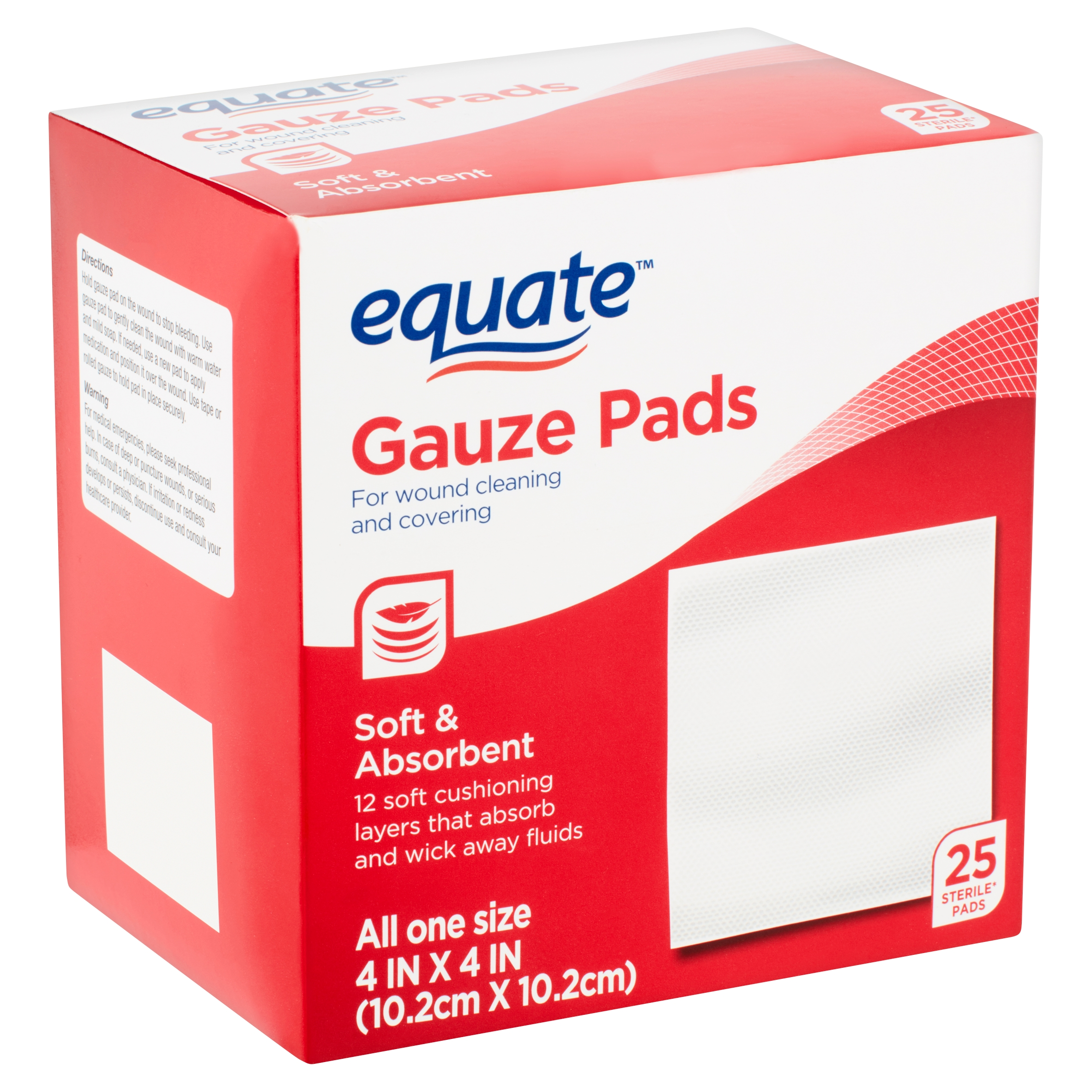 Equate Gauze Pads, 25 Count