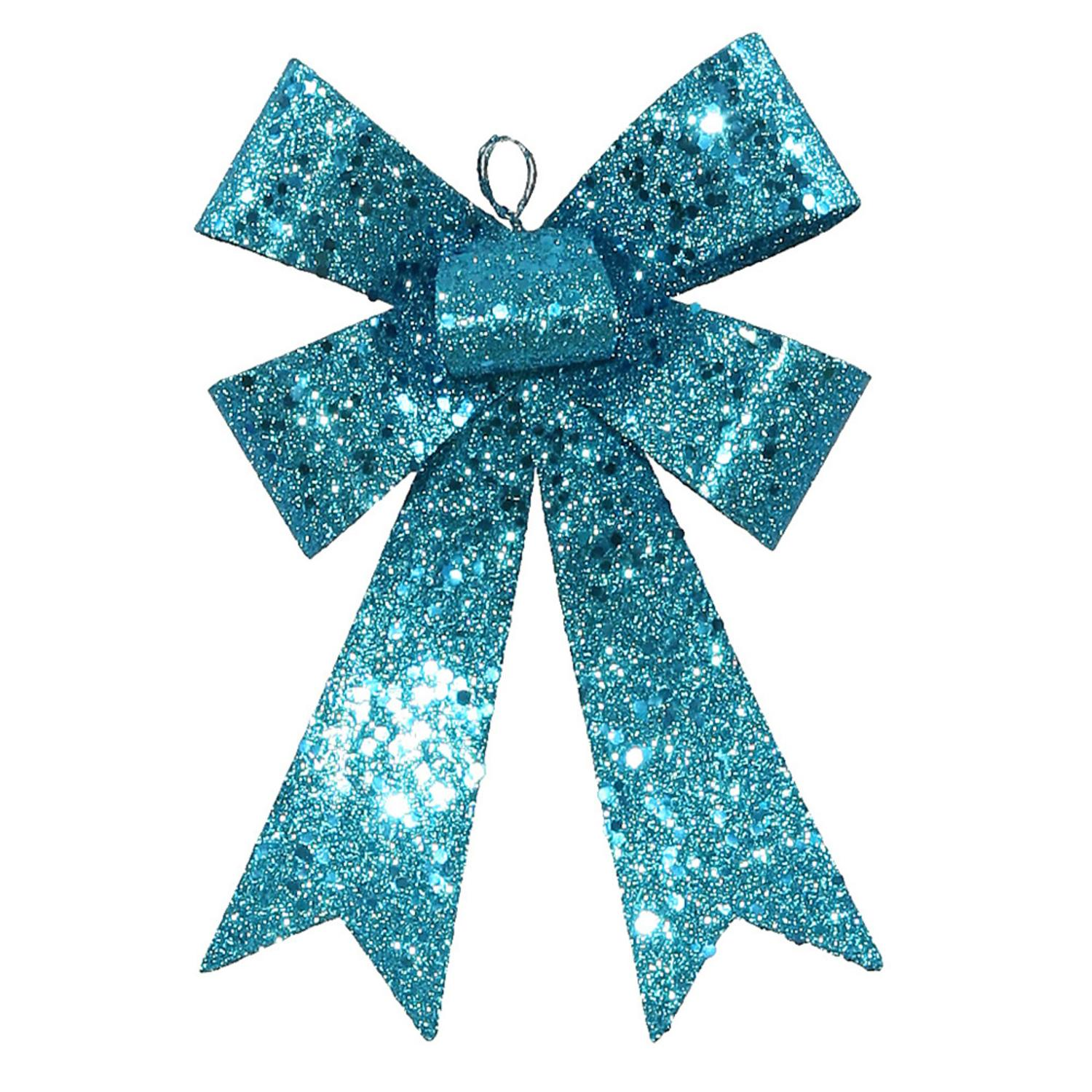 "7"" Turquoise Blue Sequin and Glitter Bow Christmas Ornament"