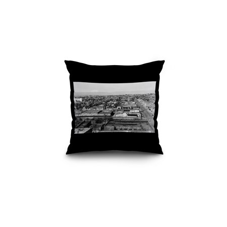 Yakima  Washington   Aerial View Of The City And Mt  Adams In Distance  16X16 Spun Polyester Pillow  Black Border