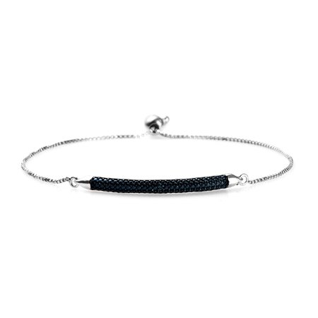 Bolo Bar Bracelet for Women 925 Sterling Silver Platinum Plated Round Blue Diamond Jewelry Gift