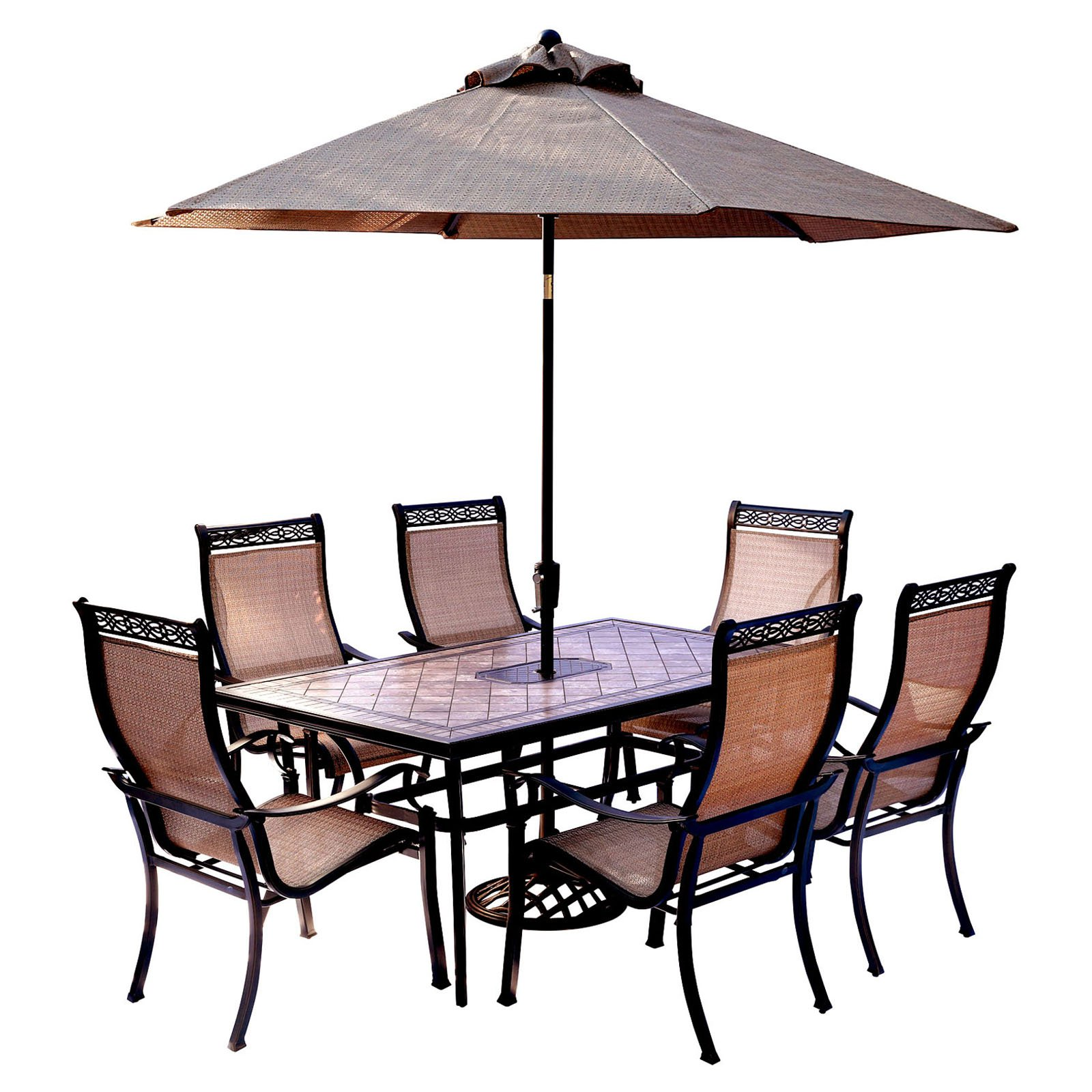 Hanover Outdoor Monaco 7 Piece Tile Top Dining Set With Sling Stationary  Chairs,