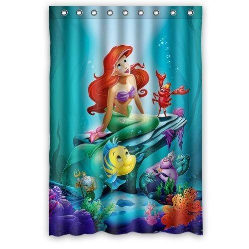 DEYOU The Little Mermaid Shower Curtain Polyester Fabric Bathroom Shower Curtain Size 48x72 inches