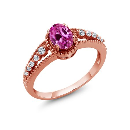 1.11 Ct Oval Pink Created Sapphire White Topaz 18K Rose Gold Plated Silver Ring
